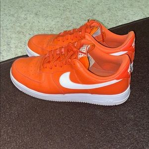 Air Force ones. Orange and white color way